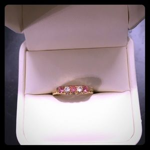 Gold ring pink and clear cubic zirconia